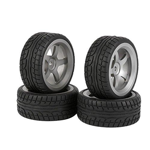 BQLZR Neumáticos de plástico Negro Drift + llanta de aleación de Aluminio Gris 5 radios para RC 1:10 On-Road Racing Car Pack de 4