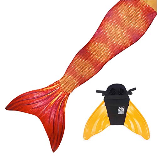 Sun Tails Set Premium Mermaid Tail Tiger Queen Monofin Mermaid Costume Princess Swimming and Diving with Fins JL with Monofin Orange and Costume