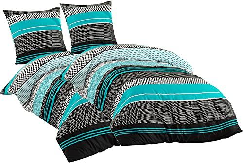 Sentidos Bettwäsche-Set 4teilig Renforcé Baumwolle 155x220 cm cm mit Reißverschluss Bett-Bezug, 80x80 cm Kissen-Bezug Bett-Garnitur türkis schwarz weiß (2 STK.155 x 220 cm + 2 STK. 80 x 80 cm)