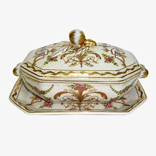 Better & Best P Vaso Oro Sopera in Ceramica, ottagonale, con manici in bronzo, con coperchio e piatto, decorato con motivi floreali, dimensioni 20 x 13 x 10 cm