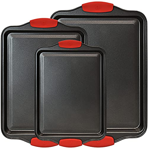 3 Piece Baking Sheets Nonstick Bakeware Set, Premium Cookie Sheet Pan Set with Silicone Grip Handles, Professional Steel Pan Baking Supplies Rectangle Cookie Pans in 3 Sizes by PERLLI