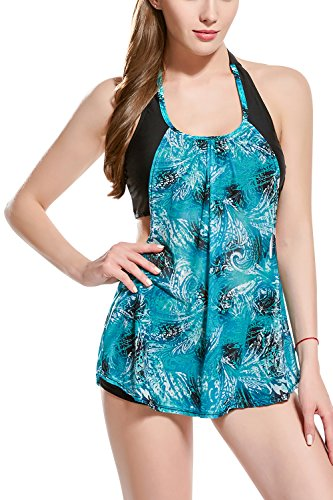 Dolamen Women's Swimming Costumes, 2018 New* Two Pieces Floral Printing Swimwear with Shorts, Ladies Built-in Cup Tummy Control Swimdress Swimsuit Bathing Suits Beachwear, Takini (UK12, Lakeblue)