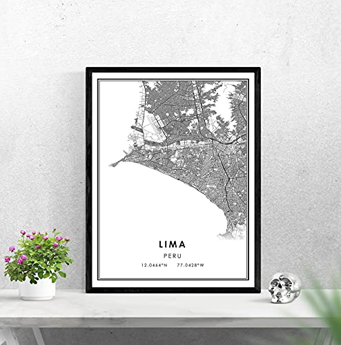 WQHLSH Lima Perú Mapa Imprimir Cartel Lienzo | Mapa de la Ciudad de Lima Perú Imprimir Cartel Lienzo 20x28inchx1 Sin Marco