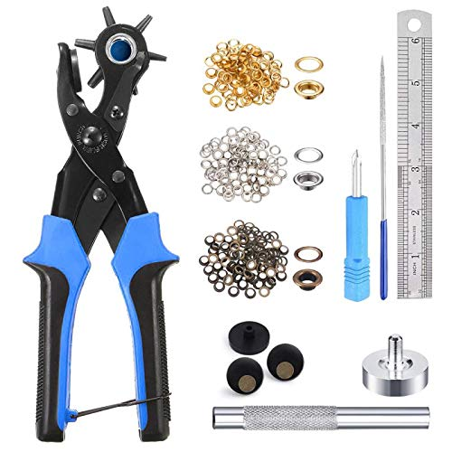 """Leather Hole Punch Tool for Belt - Multi Hole Sizes Puncher for Belts, Watch Bands, Straps, Dog Collars, Saddles, Shoes, Fabric, DIY Home or Craft Projects - with 5/32"""" Grommet Eyelet Kit 100 Sets"""