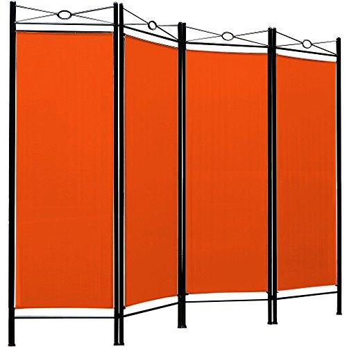 Deuba Divisorio per Ambienti Lucca 180x163cm separè paravento Parete divisoria 4 Pannelli Arancione Soggiorno Balcone