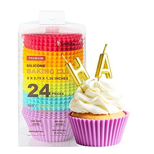 HXYA - Juego de 24 moldes de silicona para magdalenas antiadherentes para fiestas, cumpleaños, contenedor de silicona multifuncional