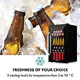Klarstein Beersafe Onyx - Getränkekühlschrank, 5 Kühlstufen, 42 dB, flexible Metallböden, LED-Licht, Kühlschrank für Flaschen, Glastür mit schwarzem Rahmen, 80 L, F, Onyx - 8