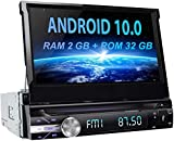 Car Stereo, Upgraded Android 10.0 [2GB+32GB] Universal 1 Din Autoradio 7 inch GPS Sat Nav MP5 Player Retractable Touch Screen, Support Bluetooth WiFi USB SD Steering Wheel Control CD DVD Mirror Link