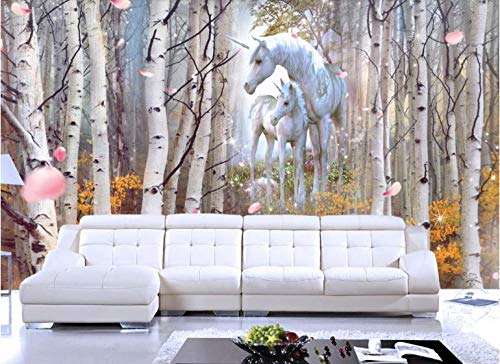 RTYUIHN 3D Mural Birch Forest Animal Horse Wallpaper TV Background Wall Wall 3D Decoration