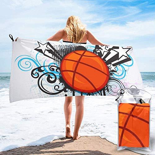 Toalla de Playa 27.5 'X 55',Summer Beach Dog Arena Ultra Suave Microfibra Portátil Absorbente de Agua Microfibra múltiple Sin Arena Toalla de Playa Manta-Sports Basketball Star