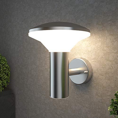 NBHANYUAN Lighting® Aussenleuchte/Außenlampe LED Wand Lampe Außen für Balkon, Garten Silber Edelstahl 3000K Warmweiß Licht 220-240V 1000LM 9W IP44