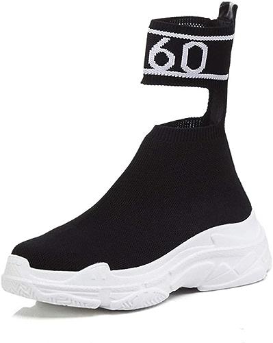 HRN Chaussons pour Femmes en Tricot à Fond épais Chaussettes à Bottes Rondes élastiques à Pied Muffin Chaussures Nouveau Style,noir,34EU