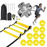 Velocidad Escalera de Entrenamiento Coordinación Agilidad, Escalera de velocidad ,6M 12 Escalones Peldaños 4 clavijas Escalera de velocidad para fútbol, fitness, deportes,1 paracaídas de arrastre