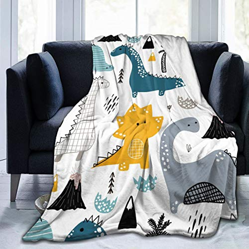 "KiuLoam Dino Scandinavian Style Soft Throw Blanket 40""x50"" Lightweight Flannel Fleece Blanket for Living Room Bedroom Sofa Couch Warm and Cozy"