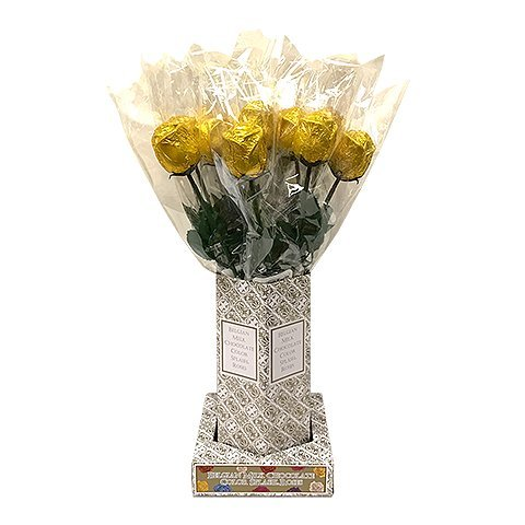 Valentine Gift Gold Foiled Belgian Milk Chocolate Color Splash Long Stem Rose Bouquet - Pack of 20