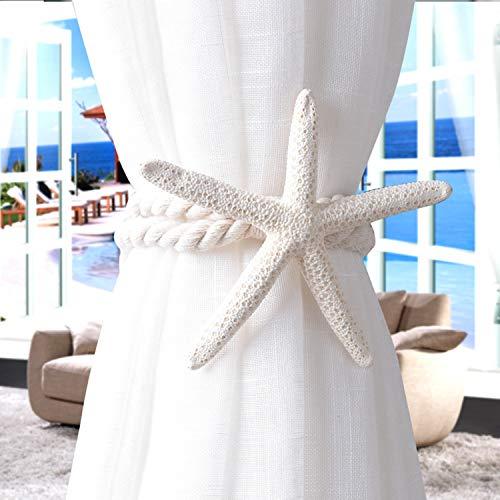 Love Creative Starfish Curtain Tieback Rope Drapery Holdbacks Cotton Tie Band Room Bedroom Decorations,2 Pieces