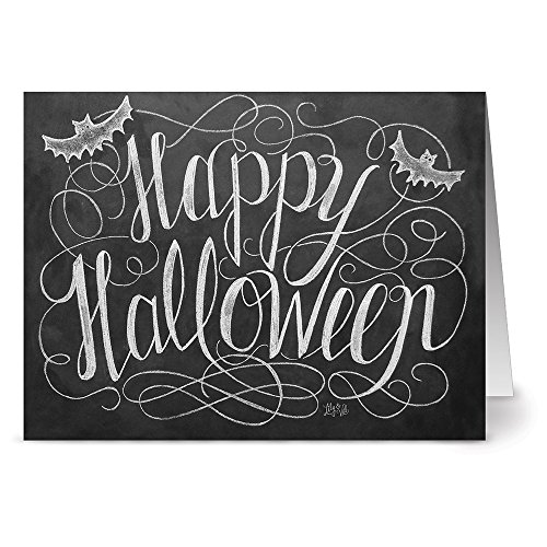 Note Card Cafe Halloween Greeting Card Set with Envelopes | 24 Pack | Blank Inside, Glossy Finish | Happy Halloween | Bulk Set for Greeting Cards, Occasions, Birthdays