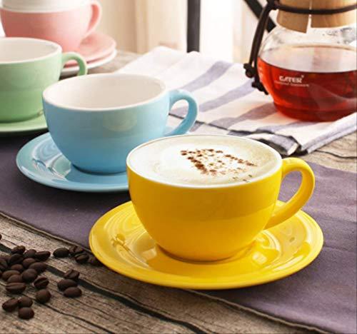 LINB Weithals-Cappuccino-Kaffeetasse/Dicke europäische und amerikanische Farbe/Espressotasse aus Keramik / 200 ml heiße und kalte Getränke/für das Büro zu Hause geeignet