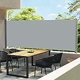 Tidyard Toldo Lateral Retráctil para Patio Toldo para Terraza Patio o Balcón Protección Solar Toldo Solar Retráctil Gris 600x170 cm