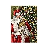 LINGSFIRE Kit de Pintura de Diamantes de Navidad 5D, Kits de Bordado de Taladro Completo, Pinturas Diamantes Decoración de la Pared de Punto de Cruz de Nieve Papá Noel Papá Noel, 30 x 40 cm