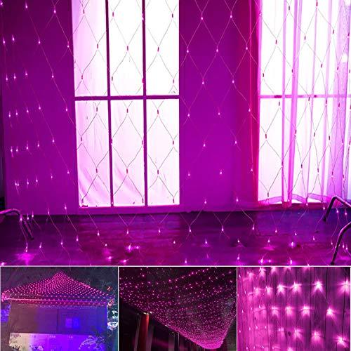 String Lights LED Net Mesh Lights 200 LEDs 9.8ft x 6.6ft Tree-wrap Fairy String Light 8 Modes Flashing Lighting for Christmas Trees, Bushes, Wedding, Garden, Outdoor Decorations (Pink)