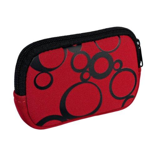 vyvy mobile® stylische Neopren Universal Kameratasche für Kompaktkameras Circles Rot