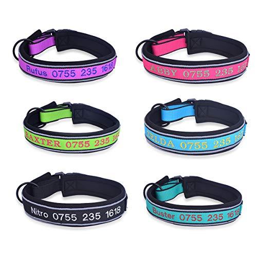 YouFia Hundehalsband Halsbänder mit Name Telefonnummer Bestickt Personalisierte Haustier Halsband,Schwarz,L