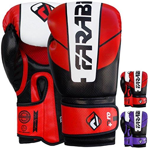 Guantes de boxeo Farabi de 10oz 12oz 14oz 16oz para hombre, guantes de boxeo para entrenamiento, sparring, saco de boxeo, Muay Thai y Kick Boxing, MMA, artes marciales, color rojo/negro, tamaño 340 g