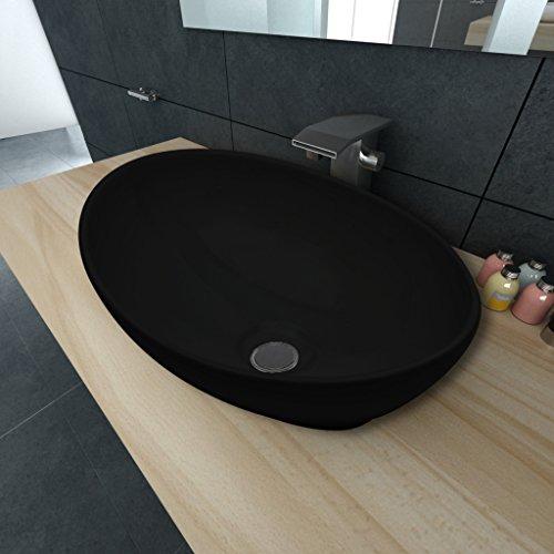 Festnight 40 x 33 cm Lavello | lavabo da appoggio Nero/Bianco in Ceramica Forma Ovale