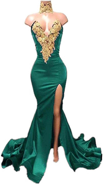 SDRESS Women's Plunging VNeck gold Appliques Mermaid Prom Dress Choker