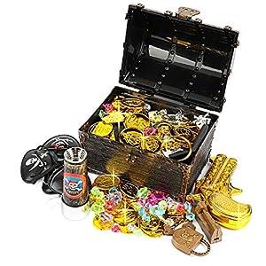 Ulikey Monedas de Oro Juguete Pirata Niños, Monedas Doradas de Plástico de Pirata, Pirata del Tesoro y Cofre del Tesoro para la Caza Juego Decoración Partido Regalo Cofre del Tesoro