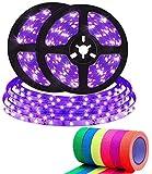 Tira de LED UV 10M con Neon Tape,600 LEDs Tira de LED 12V 2835 Luz Negra UV para Halloween, Fiesta de Navidad, Bares Decoración, Pintura Corporal, Pintura de Maquillaje de Neón