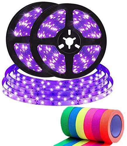 UV LED Strip mit 6 Neon Klebeband,10M UV Schwarzlicht LED Streifen 600 LEDs Lichtband,Selbstklebend 2835 SMD LED Band für Partys,Bar,Neonfarben,Club,Disco, Halloween-Dekorationen [Energieklasse A+]