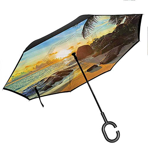 Seaside Decor Collection Upside Down Umbrella with C-Shaped Handle Colors of Sunset Sun Rays Palm Trees Stones Shadows Shades Waterscape Picture Ivory Blue Gold