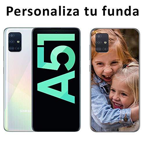 Mookase Funda Carcasa Personalizada para tu móvil Samsung Galaxy A51 con Foto, Imagen o Texto. Gel Flexible, Bordes Transparentes
