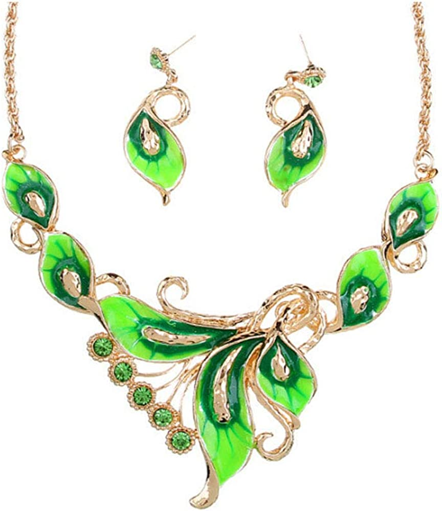HAPPYLE Austrian Crystal Enamel Jewelry Sets Women Flower Jewelry Sets Chain Necklace Earrings Sets