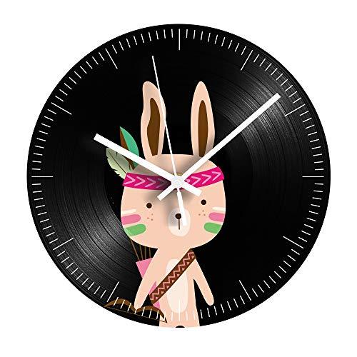 HHKLSF Reloj De Registro Decorativo De Animales De Dibujos Animados Conejo Silencioso...