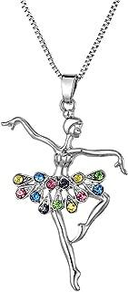 Multi-Color Dancing Ballerina Dancer Ballet Pendant Necklace