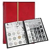 SAVITA Album per Monete da 250 Tasche Libro da Collezione di Monete in Pelle da 10 Pagine Libro da Collezione Penny per Collezionisti di Monete (Rosso)