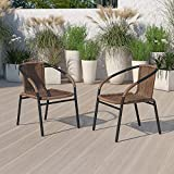 EMMA + OLIVER 2 Pack Medium Brown Rattan Indoor-Outdoor Restaurant Stack Chair