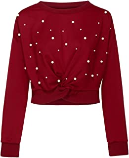Women's Pearl Beading Crew Neck Pullover Solid Oversized Sweater Jumper Long Sleeve Blouse