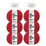 HANSA-FARM 100% Lana Cotone in 12 Colori - 300 Grammi Set (6 x 50g) - Öko Tex 100 certificata - Filo Cotone...