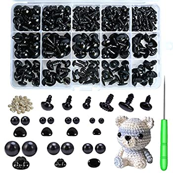 Safety Eyes and Noses 462Pcs Black Plastic Stuffed Crochet Eyes with Washers for Crafts
