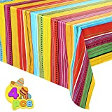 JOYIN 4 pcs Cinco De Mayo Printed Plastic Tablecover w/Vivid Muti-Colored (54 x 108 INCHES) for Fiesta, Taco Night, Birthday, and Mexican Themed Party