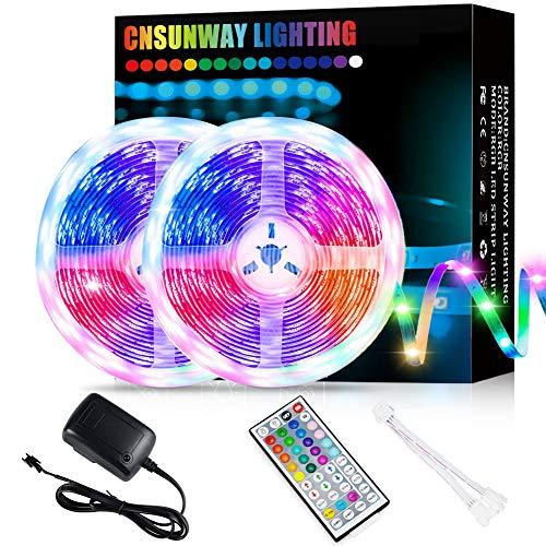Tira LED, RGB 10M (2*5M) Luces LED 5050 SMD 24V Con 44 Teclas Control Remoto IR Habitación Que Cambian De Color Luz De Ambiente Para el Hogar Dormitorio Habitación TV Coches Fiesta Boda