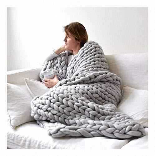 Miarui Grof gebreide deken, wol, garen, arm, deken, handgemaakt, gebreide knuffeldeken, grof gebreide wollen deken als sprei, sofadeken voor huisdier, bed, stoel