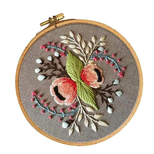 Byfri Bordado Kit de Inicio con el Modelo del Bastidor de Bordado preimpreso Tela patrón Floral (15cm) labores de Bricolaje