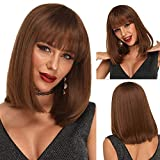 Ebingoo 16 inch Short Bob Wig with Bangs Silky Honey Brown SyntheticWigs with Shoulder Length Hair for Women Heat Resistant Wig for Daily Wear