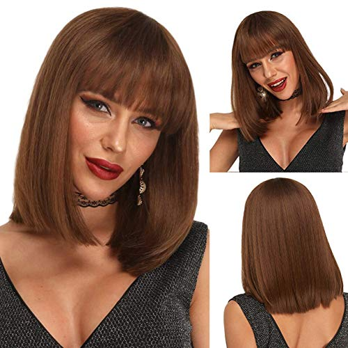 Ebingoo 16 inch Short Bob Wig with Bangs Silky Honey Brown SyntheticWigs with Shoulder Length Hair for Women Heat Resistant Wig for Daily Wear for Cosplay 14 Inches