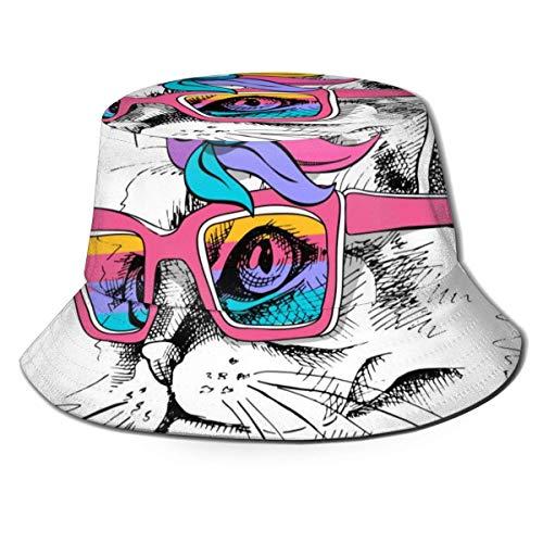 GOSMAO Gafas Unisex Gato Unicornio Sombrero de Cubo Sombrero de Pescador Sombrero de Sol al Aire Libre Negro